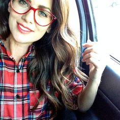 Click the photo to shop the look   Jillian Harris of Jillian Harris Design Inc. wearing Kate Spade red glasses frames, a red plaid flannel shirt, Dior lipstick, and Marc by Marc Jacobs bracelet watch   Follow @liketkit on Pinterest for more outfit inspiration #liketkit