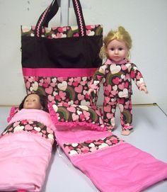 American Girl doll tote bag, sleeping bags and matching pj's I made for family in PA.