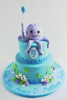Adorable octopus sea themed birthday cake! http://www.facebook.com/TeaPartyCakesbyNaomi