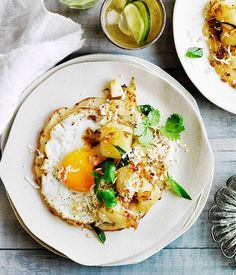 Fried egg dosa with potato curry :: Gourmet Traveller Magazine Mobile Egg Recipes, Brunch Recipes, Indian Food Recipes, Breakfast Recipes, Vegetarian Recipes, Cooking Recipes, Vegetarian Breakfast, Vegetarian Curry, Curry Recipes