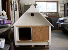 Hen house made from dog house & then put on wheels.
