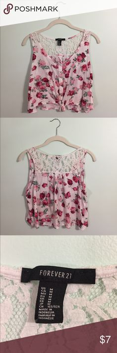 Floral crop top with lace details from F21 Floral crop top with partial lace back from Forever 21! Size M. Lightly worn! Forever 21 Tops Crop Tops