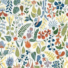 Borastapeter Herbarium Floral Motif Wallpaper White - WV2743