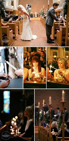 How it works:  After the bride and groom light the main unity candle, they continue down into the pews to begin lighting the candle of the maid of honor and best man, who then continue passing the flame one by one until every candle in the crowd is lit.  The result is a magical room of candlelight that unites the bride and groom with their family and friends.  We especially love this reverse unity ceremony idea for evening weddings or dimly lit venues where it will have the most impact.