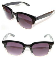 23fb8dddf7 Men s Women s Half Shell Soho Clubmaster Large Black Gold Sunglasses Retro  New