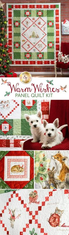 "The Warm Wishes Quilt will make your ears perk up, your tail wag, and your heart melt all in the same moment! From the Jingle Belle kitty, to the Fa-la-la-la-Llama, you'll fall in love immediately with this sweet project. Made using the soft colors of the Warm Wishes fabric and playfully illustrated panel by Hannah Dale for Maywood Studio, the beloved watercolor animals celebrate around the Christmas Tree.   Quilt finishes to approximately 62"" x 75""."