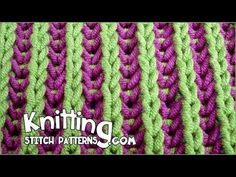 Two-color Brioche Stitch - YouTube. Great video with captions - no annoying voices to listen to!