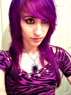 Purple hair and zebra.