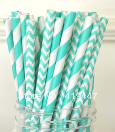 Free Shipping! 100pcs tiffany Striped and chevron Paper Drinking Straws,Wedding , Birthday,Baby Shower, Party Supplies $10.49