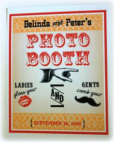 PERSONALIZED 8 x 10 Photo Booth Prop Sign- Vintage Circus Single Sheet Photo Booth Sign With Your NAMES and DATE- Gold and Red. $9.00, via Etsy.