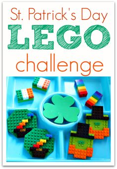 Patrick's Day LEGO Challenge! – No Time For Flash Cards St. Patrick's Day LEGO challenge is a great hands on way to work on engineering and building techniques! Lego Activities, Spring Activities, Holiday Activities, Holiday Crafts, Therapy Activities, Toddler Activities, Lego Challenge, Challenge Cards, Lego Club