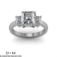 0.60 ct 4-Prong 3-Stone with Asscher Cut Sides Diamonds Engagement Ring-14k White Gold Asscher Cut Engagement Rings #asscher #asscherdiamonds #asschercut #asschercutengagementrings $1421.50