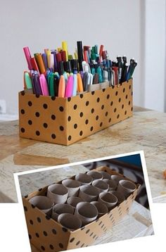 DIY organization for pens, pencils, etc! So doing this! Loo rolls abound in our house and now I finally have a use for them!