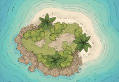 The Tropial Island, a battle map for D&D / Dungeons & Dragons, Pathfinder, Warhammer and other table top RPGs. Tags: cliff, island, ocean, sea, shore, tropical, water, wilderness