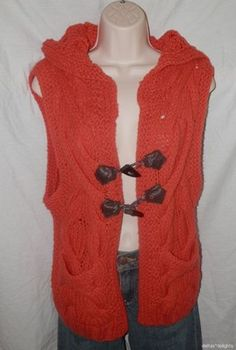 Wms Free People Sweater Vest s Small Hoodie Orange Toggles Sleeveless Cable Knit | eBay