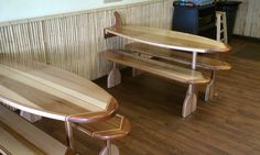 surf+board+bench | Surfboard Tables & Benches, Maple & Mahogany