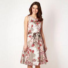 Rocha.John Rocha Designer light grey oriental flower prom dress- at Debenhams.com