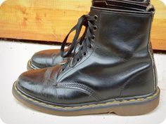 Vintage 90s DOC MARTEN black leather ankle boots/ by ThreadyJenny, $85.00