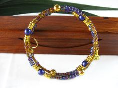 Purple and Gold Beaded Bracelet Key Fob ID by TheTwistedRedhead