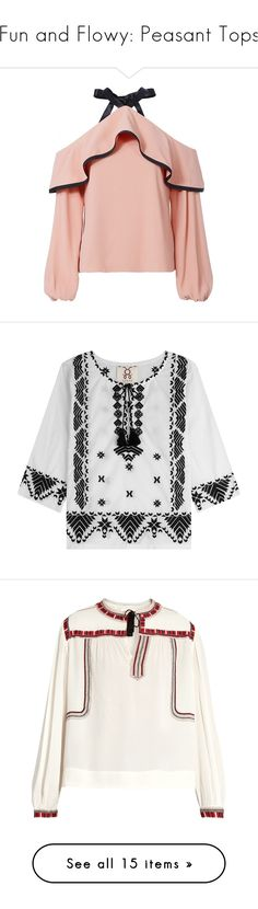"""""""Fun and Flowy: Peasant Tops"""" by polyvore-editorial ❤ liked on Polyvore featuring peasanttops, tops, blouses, shirts, pink, cold shoulder shirt, cold shoulder blouse, open shoulder top, peasant tops and peasant blouse"""