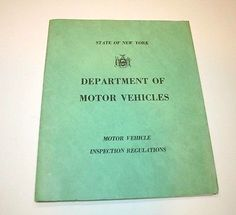 1962 NY DMV Inspection Regulations Booklet Vtg Auto Rules Dept Motor Vehicles in Collectibles, Transportation, Automobilia, Books & Manuals, Other Vintage ...