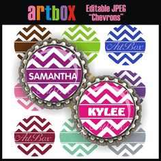 INSTANT DOWNLOAD Editable Chevrons Bottle Cap Images - 4x6 Digital Jpeg File Collage Sheet - BottleCap One Inch Circles on Etsy, $2.50