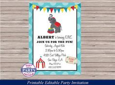 Hey, I found this really awesome Etsy listing at https://www.etsy.com/listing/197107208/circus-party-editable-invitation-instant