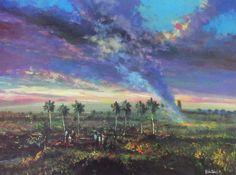 """Caribbean Art Torres La Central 8"""" x 10"""" print  Puerto Rico Impressionism Folk"""