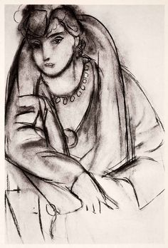 1969 Photolithograph Henri Matisse Charcoal Sketch Woman Portrait Modern XDB7