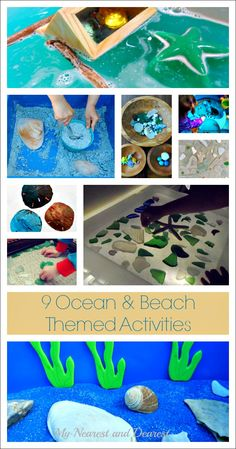 9 Ocean and Beach Themed Kids Activities. Creative art and sensory play for home or the classroom.