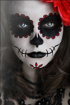 Day of the Dead Halloween Makeup - I am SOOOOOOOOO doing this for my Halloween costume one year! xD