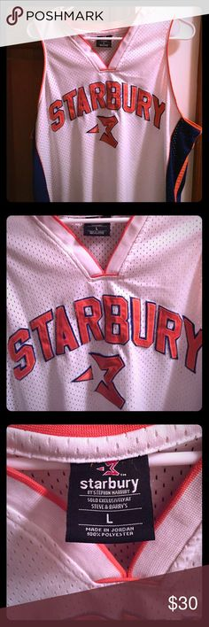 New York Knicks Starbury/Stephon Marbury #3 Jersey Stephon Marbury (Starbury) New York Knicks #3 White with Blue/Orange Jersey. Size Large. 100% Polyester. Stitched letters and number. Sold exclusively at Steve & Barry's. Starbury Other