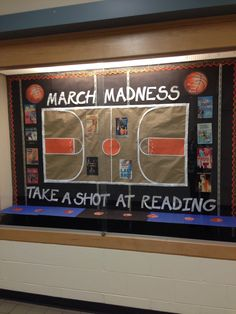 Middle school library bulletin board for March - March Madness, take a shot at reading!
