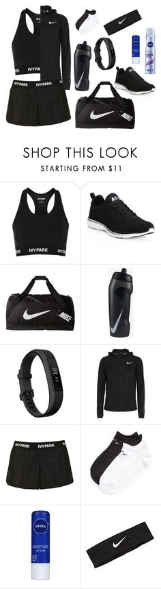 """Black workout"" by maryamlovesbeauty ❤ liked on Polyvore featuring Topshop, Athletic Propulsion Labs, NIKE, Fitbit and Nivea"