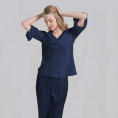 Ultra Soft Ladies Silk Top Nightwear Silk Pajamas - OOSilk (225 BAM) ❤ liked on Polyvore featuring intimates, sleepwear, pajamas, silk pyjamas, silk pajamas, silk pjs, silk sleep wear and silk sleepwear