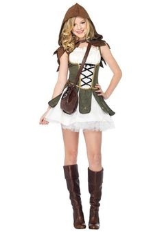 She's great with a bow and arrow! Prove that stealing from the rich and giving to the poor isn't unfashionable in this Teen Girls Robin Hood Costume.