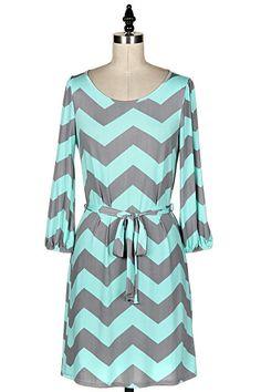 Mint/Gray Chevron Dress