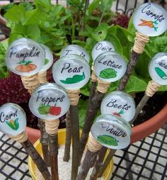 Glass bubbles signs Glue the paper between the glass pebbles Carefully cut out the circles of the plant markers you plan on using. I used a 3/4″ hole punch at first, but it was a little too big and I had to trim them down.  I used this awesome glass glue called Eclectic Adhesive E6000 , and is totally weather proof. Glue the paper veggie circles between two glass pebbles and let dry.  Read more at http://www.craftjr.com/garden-craft-plant-markers-free-pattern-download/#p1xVBK4UDASw5Q28.99