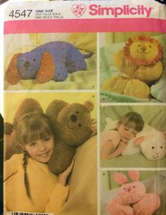 Sewing Pattern Simplicity 4547 Animal Pillows Uncut Complete Longia Miller Design by GoofingOffSewing on Etsy