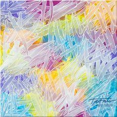 Rainbow Crystals - acrylic painting on canvas, by Vera Ema Tataro, 80x80 cm