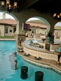 Home Pool Bar . Home Pool Bar . Awesome Swim Up Bar with Tiki Style Cabana Backyard Pool Designs, Swimming Pools Backyard, Swimming Pool Designs, Pool Landscaping, Backyard Beach, Beach Pool, Indoor Swimming, Backyard Retreat, Backyard Patio