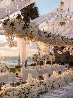 Tying the Knot In Tel Aviv Has Never Looked Better simple elegant beach wedding ceremony ideas Magical Wedding, Perfect Wedding, Dream Wedding, Wedding Day, All White Wedding, Wedding On The Beach, Wedding Events, Wedding Castle, Blue Wedding Flowers