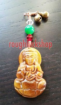 Tiger Eye Kwan Yin Gemstone Pendant Necklace by ROUGHLUCKSHOP