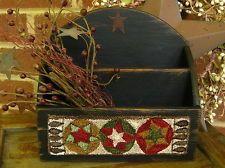 "Primitive Punch Needle ~""Circle & Stars"" ~on Distressed Wooden Organizing Box"