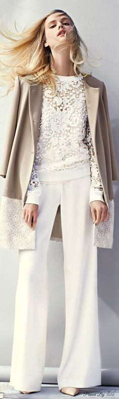 Not Your Grandmother's Lace  top and blazer, not the wide legged pants