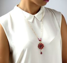 Hey, I found this really awesome Etsy listing at https://www.etsy.com/listing/221057987/red-flower-necklace-red-gold-necklace
