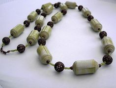 Lime green paper bead necklace with copper by AstridsJewelGarden, £25.00