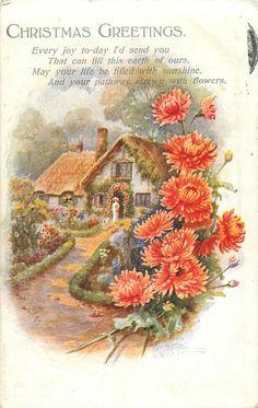 CHRISTMAS GREETINGS  cottage, orange chrysanthemums