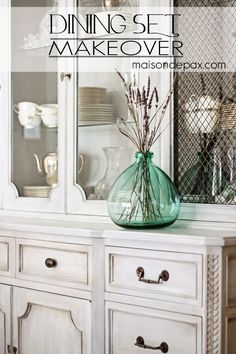 Beautiful whitewashed gray chalk paint dining set. Update your furniture with chalk paint for a gorgeous new look without an sanding or stripping necessary.