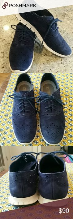 Get Reduced Shipping!  Zerogrand Blue Suede COLE HAAN   Price goes back to normal tomorrow.  These are most amazing and sought after royal blue Zerogrand wingtip Oxfords, Cole Haan's best selling line.   Absolutely beautiful!   Barely worn.  Excellent condition. Laser cut suede.   Fit:  These shoes run slightly narrow.  These will fit an 8.    Cole Haan quality !  White rubber soles with Grand OS focuses on flexibility, reduced weight, and comfort. EVA midsole with rubber outsole. Cole Haan…